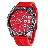Amlaiworld Orologio sportivo uomo,Orologio sportivo di lusso elegante enorme grande quadrante Silicone Band (rosso)