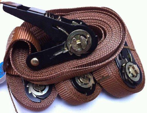 4x cinghie a cricchetto cinghia 800kg con cricchetto 5Meter norma EN 12195-2colore: marrone militare