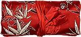 Bees Knees Fashion Sacchetto Per Gioielli Con Stampa Di Fiori Di Bambù Rosso Seta Nero Argento Rosso