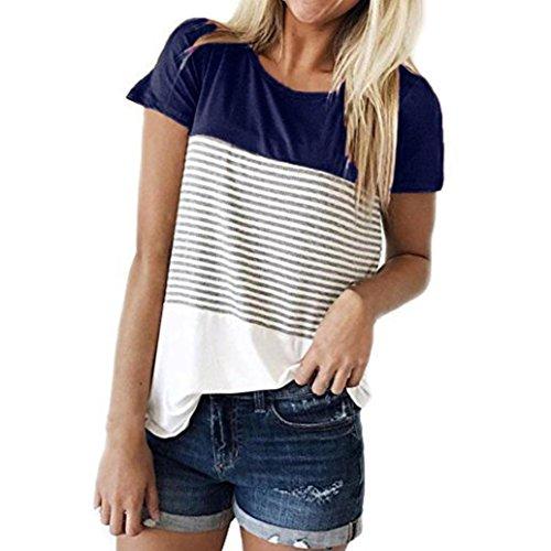 OVERDOSE Damen Tops Frauen Kurzarm Dreifach Farbe Block Streifen T-Shirt Casual Bluse Oberteile(A-Blue 2,M) (Indianer-perlen-streifen)