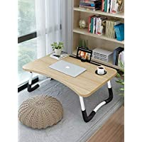Bed Laptop Table Tray LapDesk Notebook Stand with ipad Holder Cup Slot Adjustable Anti Slip Legs Foldable for Indoor Outdoor Camping Study Eating Reading -Wood color