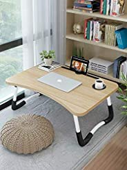 Bed Laptop Table Tray LapDesk Notebook Stand with ipad Holder Cup Slot Adjustable Anti Slip Legs Foldable for