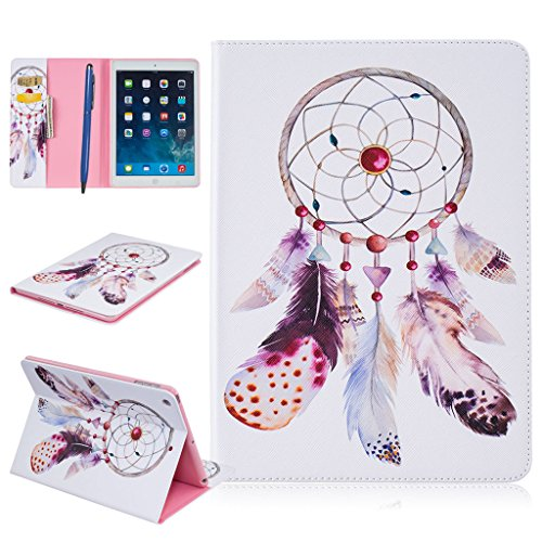 CareyNoce iPad Air Funda,Diente de león,Mar,Mariposa,Flor,Pattern PU Cuero Cover Stand Flip Funda Carcasas para Apple iPad Air iPad 5 (9.7 pulgada) - Atrapasueños