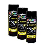 3X DUPLI-Color Thermo-Lack Black GLÄNZEND 300°C HITZEBESTÄNDIG Lack Spray 400 ML
