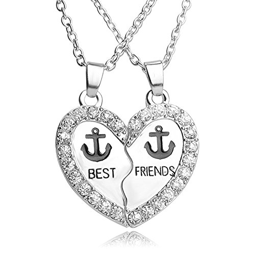 *lureme® Jahrgang Weiß Strass Best Freunde Anker Split Herz Pendant Halskette(nl004228-1)*