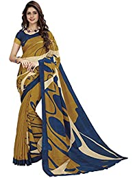 Vipul YELLOW Crepe PRINTED Saree With Blouse Piece 35126