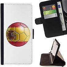 STPlus Bandera y balón españoles del equipo de fútbol de España Monedero Carcasa Funda para Sony Xperia M2