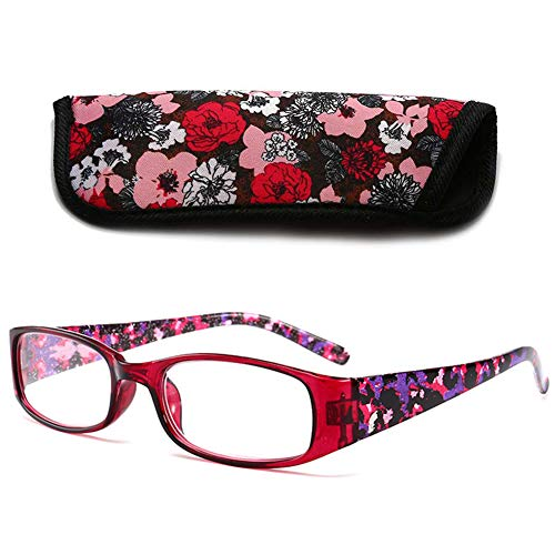 VEVESMUNDO® Lesebrillen Breites Gestell Damen Herren Klar Groß Rechteckig Modern Vintage Vollrandbrille Lesehilfe Sehhilfe Brille 1.0 1.5 2.0 2.5 3.0 3.5 4.0 (1 Stück Rot, 1.5)