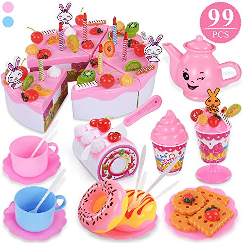 TEMI 99pcs Pretend Play Birthday Cake for Kids, Decorating Party Toy Food and Tea Sets with Removable Candles/Fruit/Milk Shake/Biscuits, Role-play Kitchen Toy for Children Aged 3+ (Stickers Included)