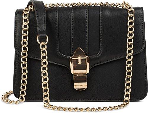 styleBREAKER Box Bag Umhängetasche im Messenger Design mit Magnetverschluss und Kette, Handtasche, Tasche, Damen 02012200, Farbe:Schwarz