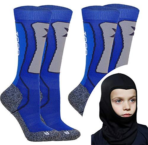 Kids Skisocken Set - 2 Paar WARM Kinder Merino SKISTRUMPF + Thermo Sturmhaube - für Mädchen Junge Italien thermische Socken mit Merino Wolle (Blau, 31-34 EU (2 Paar))