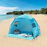 WolfWise Tienda De Campaña,Tienda De Playa Instantánea Para Camping,Playa,Para Familia,Con Protección Automática Sombrilla UPF 50+ Protección UV,Portátil,Azul