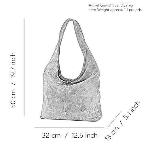 modamoda de - ital. Ledertasche Umhängetasche Schultertasche Damentasche Wildleder T150 Schwarz