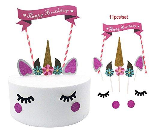 Decoración para tarta de unicornio, diseño de unicornio con purpurina para el primer cumpleaños, decoración para tarta o tarta