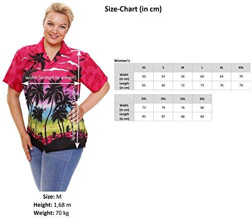 V.H.O. | Funky Hawaiibluse Hawaiihemd | Damen | Kurzarm | Front-Tasche | Hawaii-Print | Bierflaschen Party Strand Grün