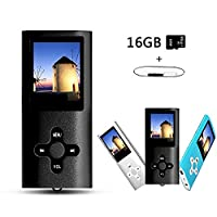 Btopllc MP3 Player, MP4 Player, Music Player, Portable 1.7 inch LCD MP3 / MP4 Player, Media Player 16GB Card, Mini USB Port USB Cable, Hi-Fi MP3 Music Player, Voice Recorder Media Player - Black