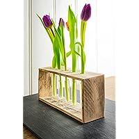 Vase/Blumenvase aus Holz von Obstkiste mit 5x Reagenzglas, Handgefertigt, Unikate, Vintage, Shabby-Chic