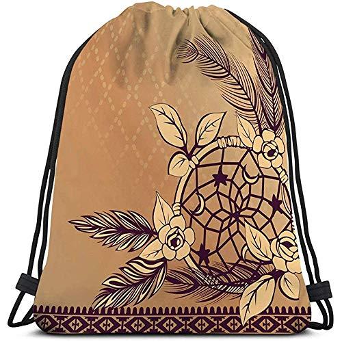 Cadena Mochila de Gimnasio Mochila con cordón Bolsa de Deporte Mochila de Viaje para Todos Atrapasueños Plumas Estilo Boho Ideal