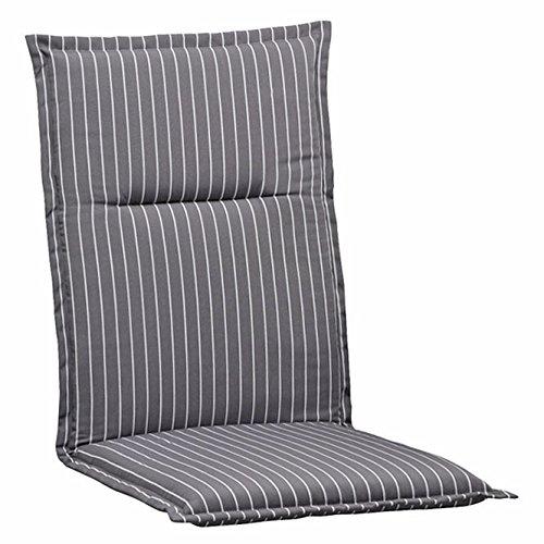 4 Auflagen fuer Stapelsessel 110 x 50 cm Kettler Dessin 709 in grau gestreift (ohne Sessel)