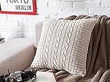 VClife® Baumwolle Zierkissenbezug 45*45cm Stricken Knopf Dekokissen Sofa Bett Zimmer Auto Kissenhülle Ohne Füllung Beige