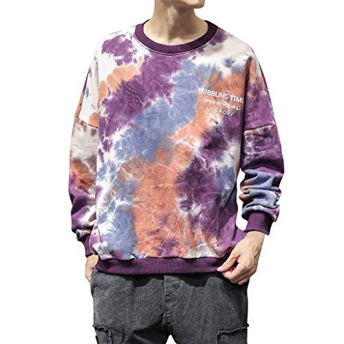 Sweatshirt Herren Casual für Tops, T-Shirts & Hemden für Herren, Holeider Basic Pullover Herren Langarm Rundhals Herbst Winter Gefärbt Mode Streetwear Pulli für Männer -