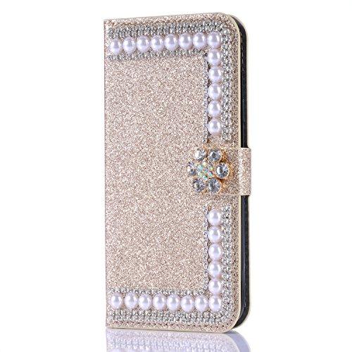 Artfeel Glitzer Brieftasche Hülle für Samsung Galaxy Note 9, Bling Diamant 3D Perle Flip Leder Handytasche mit Kartenhalter,Kristall Strass Blume Magnetverschluss Stand Hülle-Perle Gold