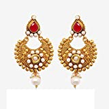 Ratnakar gorgeous gold earing with red &...
