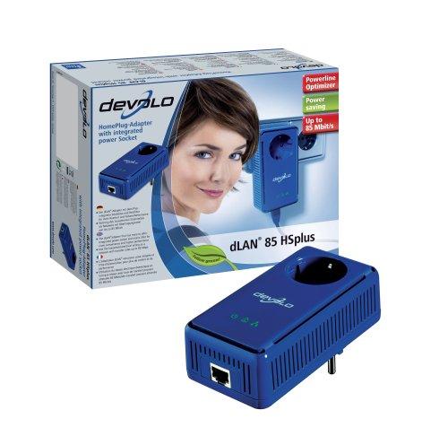 Devolo DLAN 85HSplus Highspeed-HomePlug-Adapter (Steckdose, Ethernet Kabel, 85 Mbit/s) blau