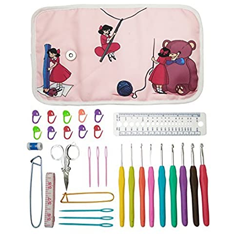 Essential Crochet Set - 9 Ergonomic comfort grip crochet hooks, accessories and roll-up organizer bag case with cute design - MozArt