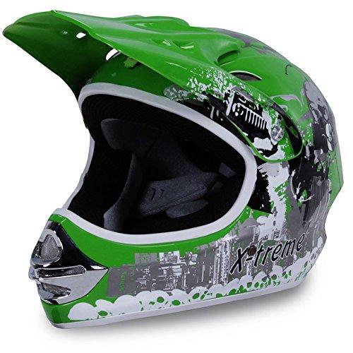Motorradhelm Kinder Cross Helme Sturzhelm Schutzhelm Helm für Motorrad Kinderquad und Crossbike in grün (Large)
