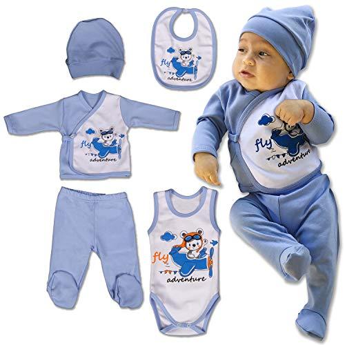 Qar7.3 completino neonato 0-3 mesi cotone, body, bavaglio, pigiama, cappello, pantaloni e maglietta