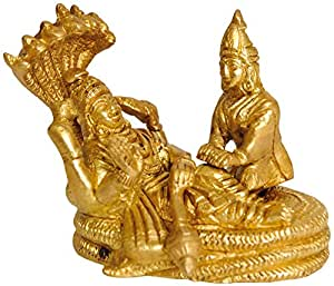 Exotic India Lord Vishnu and Lakshmi Ji Seated on Sheshnag (Small Statue) - Brass Statue