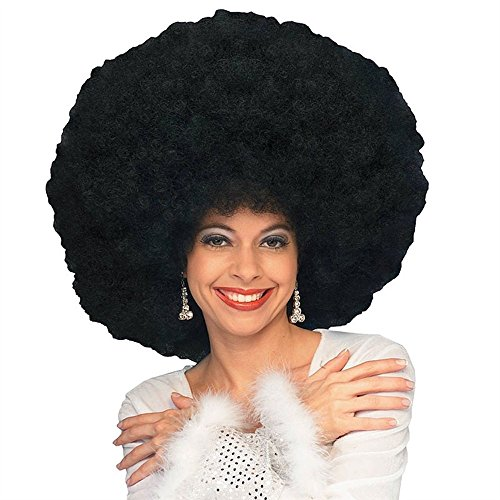 shoperama Übergroße Afro Locken Perücke für Damen oder Herren 70er Jahre Disco Queen Hippie Clown Fantasy, Farbe:Schwarz