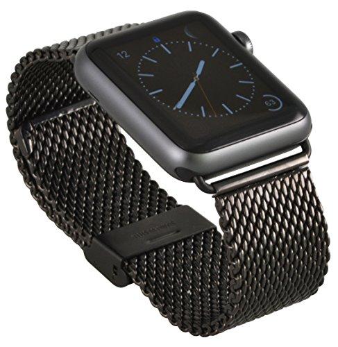 Preisvergleich Produktbild Apple Watch, Apple Watch 2 Edelstahl Armband Milanaise Uhrenband mit hochwertigem Adapter Uhren Connector Uhrenadapter Metallschließe Stainless Steel Erstatzband Klapp Faltschließe 38 mm Basic / Sport / Edition - in schwarz von OKCS