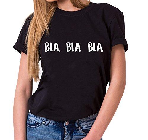 WhyKiki Bla Bla Bla Trendiges Damen T-Shirt Girlie Kurzarm Baumwolle mit Druck, Farbe:Schwarz;Größe:S (Frauen Givenchy-t-shirt)