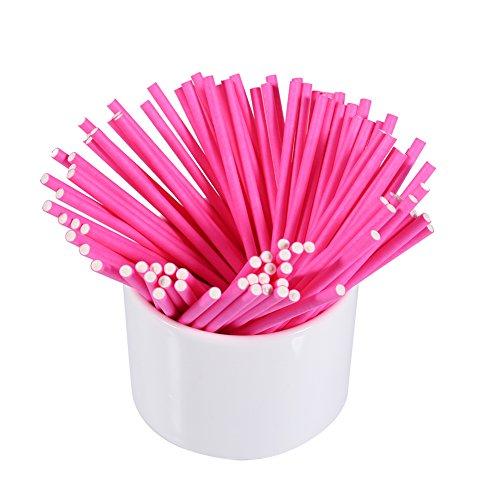 (100 Stücke Bunte Lollipop Sticks Kuchen Pop Sticks für Süßigkeiten Schokolade 3,9 zoll(Pink))