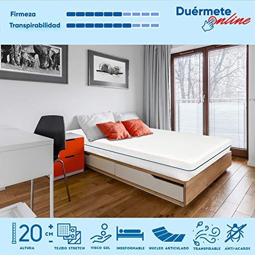 Duérmete - Colchón Viscoelástico Dorsal Visco Colchón Articulable de 90 x 190 x 21 cm