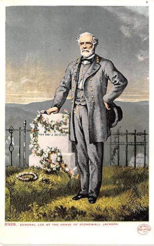 Civil War Post Card Old Vintage Antique Postcard General Lee at Grave of Stonewall Jackson Unused - General Stonewall