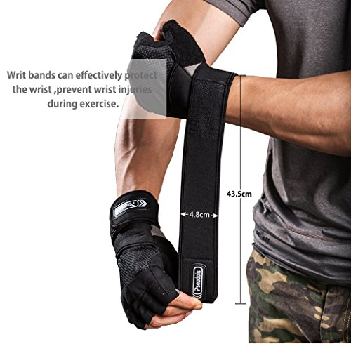 Pseudois 43.5 cm Lang Einstellbar Fitness Handschuhe, Übung Handschuhe, Security Handgelenkstütze für Gewichtheben und Bodybuilding Schulungen(X-Large Handschuhe)