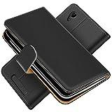 Conie Schutzhülle kompatibel mit ZTE Blade A452, Schwarze PU Lederhülle Klapphülle Etui Tasche mit Kartenfächer