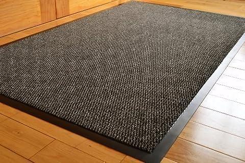 Rugs 4 Home Paillasson antidérapant à bords en PVC et dos en caoutchouc Gris/noir Grand format 90 x 150 cm