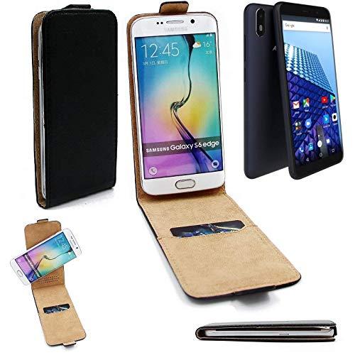 K-S-Trade Für Archos Access 57 Flipstyle Schutz Hülle 360° Smartphone Tasche, schwarz, Case Flip Cover für Archos Access 57
