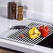 U-Taste Scolapiatti da Lavello, Roll Up Dish Rack Multiuso Pieghevole in Acciaio Inox da Cucina Lavello Rack B