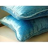 Aqua Shimmer - 50 x 50 cm Ein aqua-blau Samt Kissenbezug mit handfertigtem Perlenrand