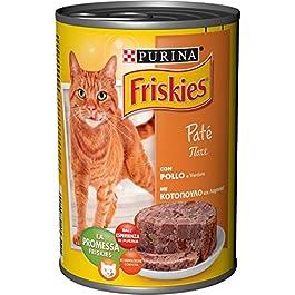 Friskies Purina Umido Gatto Paté con Pollo e Verdure, 24 Lattine da 400 g, Confezione da 24 x 400 g