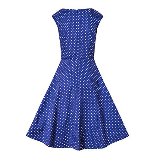 IMUYI Les années 1950 des femmes Retro Party Vintage mancherons Swing Dress Blue Dot
