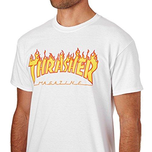 Thrasher T-Shirts Flame Logo T-Shirt. White