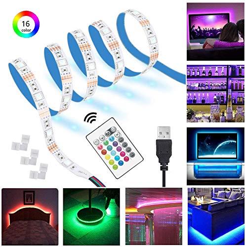 RGB LED Streifen Licht 5m/16.4ft LED flexible Streifen Lampe mit 24Key RF Fernbedienung, 5050 SMD Weiß PCB Board LED TV Hintergrund beleuchtung USB Vorspannungs beleuchtung für 40-90 Zoll TV