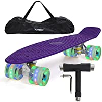 "Yorbay (Upgrade Version) 22"" monopatín Skateboard Retro con la Bolsa y T-Herramientas ABEC- 7 Rodamiento Rueda LED-PU de 59MM hasta 100kg (Tabla púrpura/Ruedas LED Transparentes)"