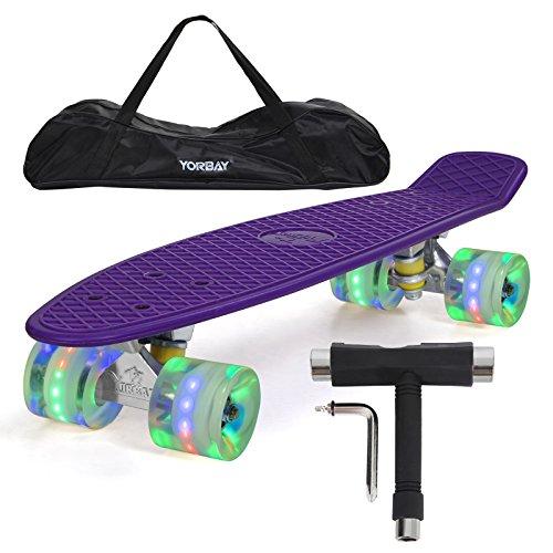 "Yorbay (UPGRADE VERSION) 22"" Retro Skateboard Komplett Fertig Montiert mit Tasche und T-Tool (Deck Lila/LED transparent Räder)"